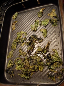 kale chips, cooked