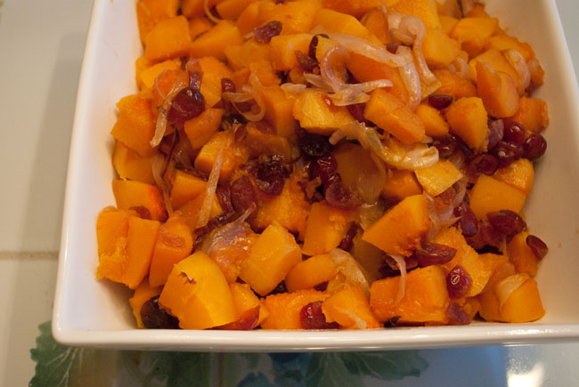 Baked Butternut Squash with Cranberries |