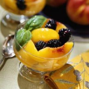 Peach & Blackberry Compote with Basil Syrup