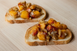 peach walnut bruschetta with shallots